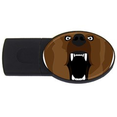 Bear Brown Set Paw Isolated Icon Usb Flash Drive Oval (4 Gb) by Nexatart