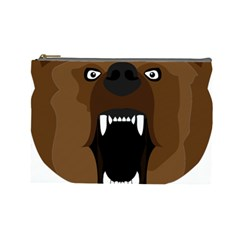 Bear Brown Set Paw Isolated Icon Cosmetic Bag (large)