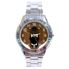 Bear Brown Set Paw Isolated Icon Stainless Steel Analogue Watch by Nexatart
