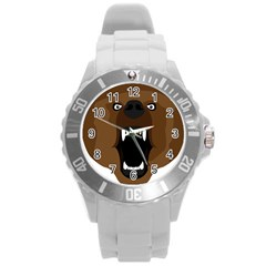 Bear Brown Set Paw Isolated Icon Round Plastic Sport Watch (l) by Nexatart