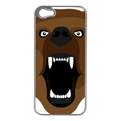 Bear Brown Set Paw Isolated Icon Apple Iphone 5 Case (silver)