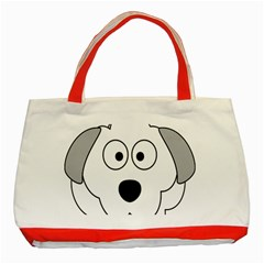 Animal Cartoon Colour Dog Classic Tote Bag (red)
