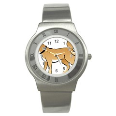 Dog Brown Pet Animal Tail Eskimo Stainless Steel Watch