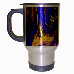 Blue Gold Marbled Travel Mug (silver Gray) by 8fugoso
