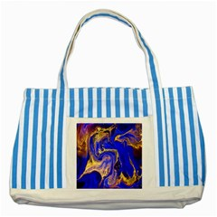 Blue Gold Marbled Striped Blue Tote Bag