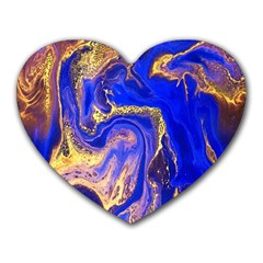 Blue Gold Marbled Heart Mousepads by 8fugoso