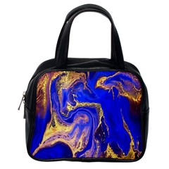 Blue Gold Marbled Classic Handbags (one Side) by 8fugoso