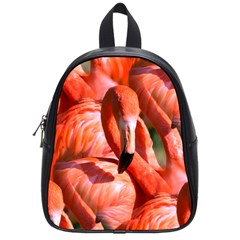 Pink Flamingo Flock Pattern School Bag (small) by CrypticFragmentsColors