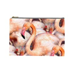 Pink Flamingos Flock Cosmetic Bag (large)  by CrypticFragmentsColors