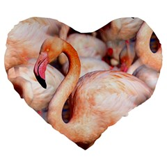 Pink Flamingos Flock Large 19  Premium Heart Shape Cushions by CrypticFragmentsColors