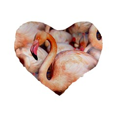 Pink Flamingos Flock Standard 16  Premium Flano Heart Shape Cushions by CrypticFragmentsColors