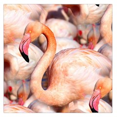 Pink Flamingos Flock Large Satin Scarf (square) by CrypticFragmentsColors
