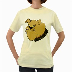 Bulldog Dog Head Canine Pet Women s Yellow T Shirt