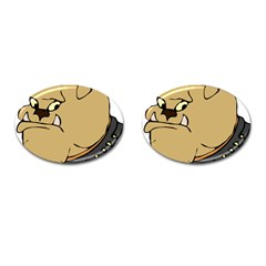 Bulldog Dog Head Canine Pet Cufflinks (oval) by Nexatart