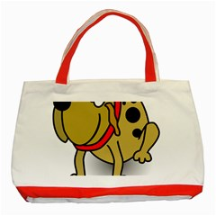 Dog Brown Spots Black Cartoon Classic Tote Bag (red)