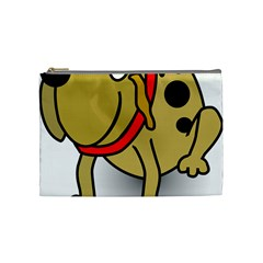 Dog Brown Spots Black Cartoon Cosmetic Bag (medium)  by Nexatart