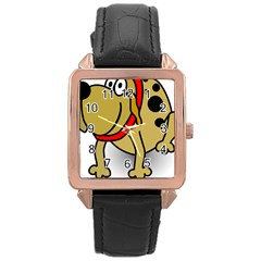 Dog Brown Spots Black Cartoon Rose Gold Leather Watch