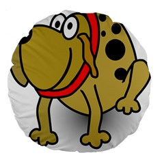 Dog Brown Spots Black Cartoon Large 18  Premium Flano Round Cushions