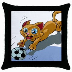 Cat Ball Play Funny Game Playing Throw Pillow Case (black) by Nexatart