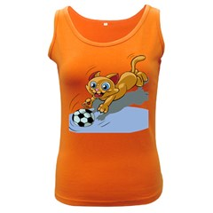 Cat Ball Play Funny Game Playing Women s Dark Tank Top