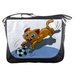 Cat Ball Play Funny Game Playing Messenger Bags by Nexatart