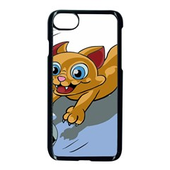 Cat Ball Play Funny Game Playing Apple Iphone 8 Seamless Case (black)