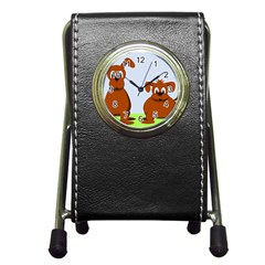 Animals Dogs Mutts Dog Pets Pen Holder Desk Clocks by Nexatart