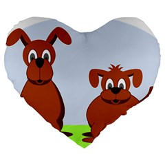 Animals Dogs Mutts Dog Pets Large 19  Premium Flano Heart Shape Cushions by Nexatart