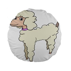 Poodle Dog Breed Cute Adorable Standard 15  Premium Flano Round Cushions by Nexatart