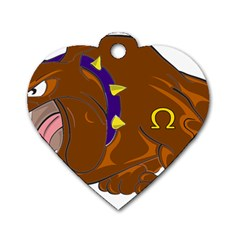 Bulldog Cartoon Angry Dog Dog Tag Heart (one Side) by Nexatart