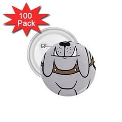 Gray Happy Dog Bulldog Pet Collar 1 75  Buttons (100 Pack)