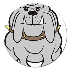 Gray Happy Dog Bulldog Pet Collar Magnet 5  (round) by Nexatart