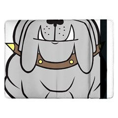 Gray Happy Dog Bulldog Pet Collar Samsung Galaxy Tab Pro 12 2  Flip Case