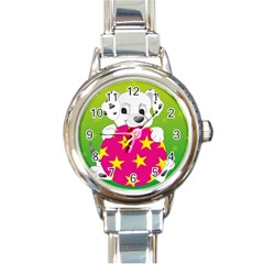 Dalmatians Dog Puppy Animal Pet Round Italian Charm Watch