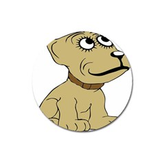 Dog Cute Sitting Puppy Pet Magnet 3  (round) by Nexatart