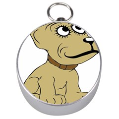 Dog Cute Sitting Puppy Pet Silver Compasses