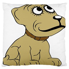 Dog Cute Sitting Puppy Pet Large Flano Cushion Case (two Sides)