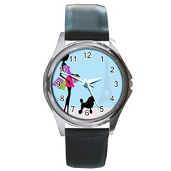 Woman Girl Lady Female Young Round Metal Watch by Nexatart