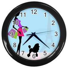 Woman Girl Lady Female Young Wall Clocks (black)