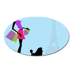 Woman Girl Lady Female Young Oval Magnet