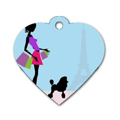 Woman Girl Lady Female Young Dog Tag Heart (two Sides) by Nexatart