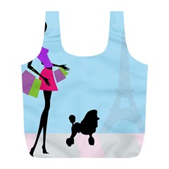 Woman Girl Lady Female Young Full Print Recycle Bags (l)