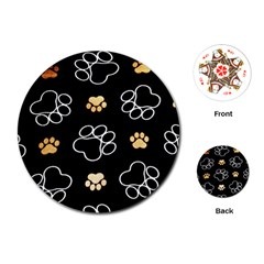 Dog Pawprint Tracks Background Pet Playing Cards (round)
