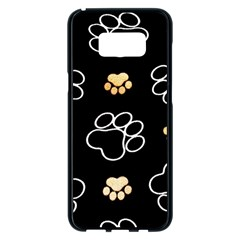 Dog Pawprint Tracks Background Pet Samsung Galaxy S8 Plus Black Seamless Case by Nexatart