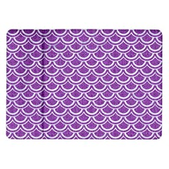 Scales2 White Marble & Purple Denim Samsung Galaxy Tab 10 1  P7500 Flip Case by trendistuff