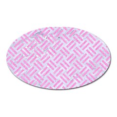 Woven2 White Marble & Pink Colored Pencil (r) Oval Magnet by trendistuff