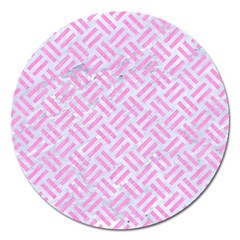 Woven2 White Marble & Pink Colored Pencil (r) Magnet 5  (round) by trendistuff