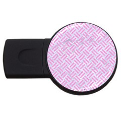 Woven2 White Marble & Pink Colored Pencil (r) Usb Flash Drive Round (4 Gb) by trendistuff