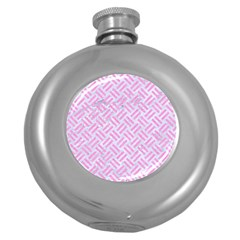 Woven2 White Marble & Pink Colored Pencil (r) Round Hip Flask (5 Oz) by trendistuff