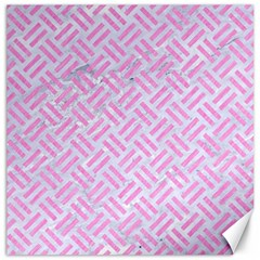Woven2 White Marble & Pink Colored Pencil (r) Canvas 16  X 16   by trendistuff